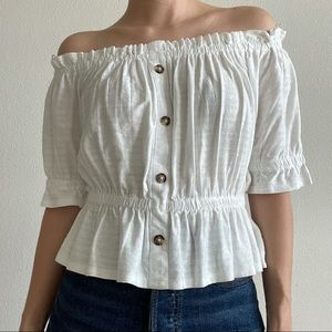 Express Off Shoulders White Peplum Blouse